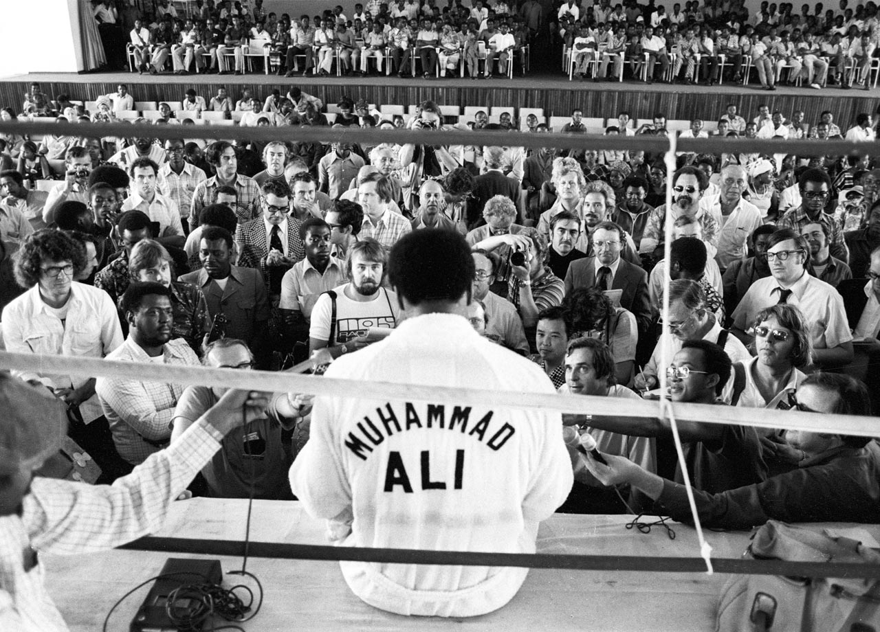 Muhammad Ali used his extended time in Zaire—the bout was postponed after George Foreman suffered a cut on his head during training—to open up to media.