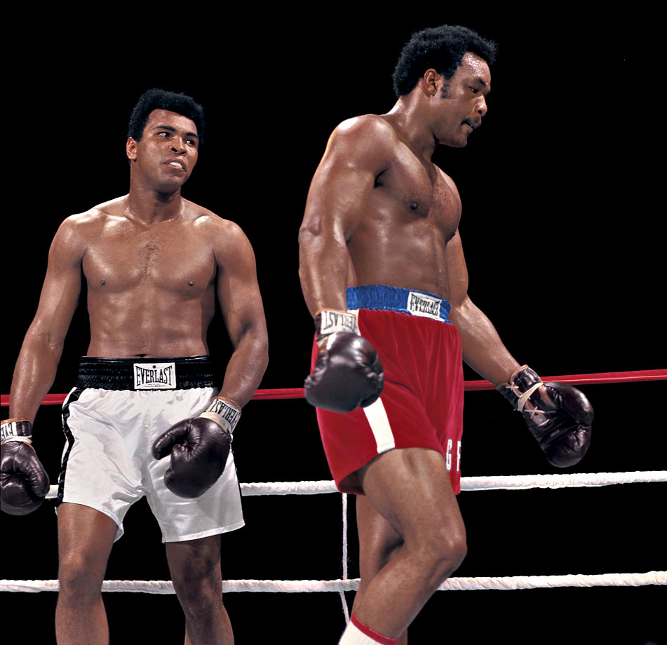 When Ali signed to fight Foreman in Zaire in 1974, many feared that The Greatest was in danger not only of losing but of perhaps being seriously hurt or worse under the heavy fists of the new champion. But as this shot of Leifer's makes clear, Ali brought a fierce focus into the ring in Africa, and he had a clear plan of battle for the bout that would forever be known as the Rumble in the Jungle.