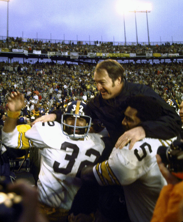 with Franco Harris and Chuck Noll