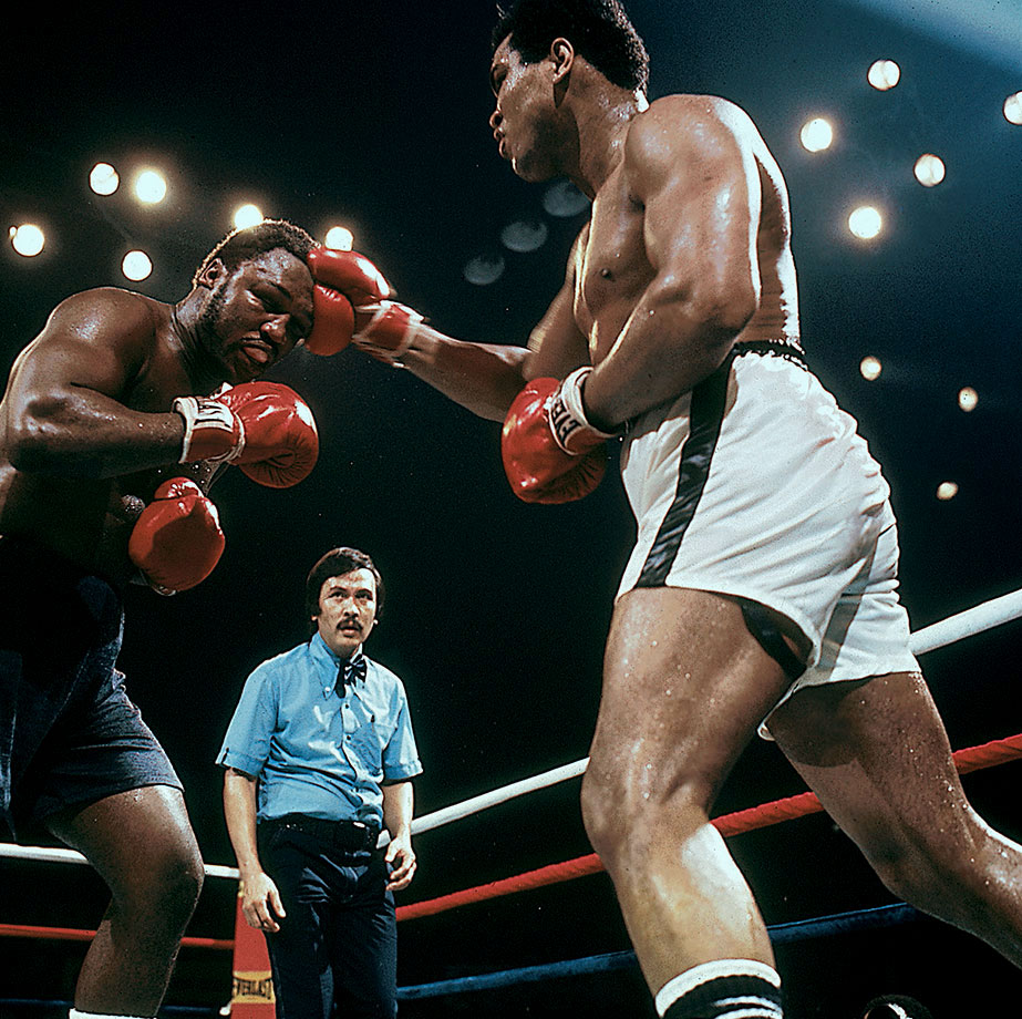 As Frazier's left eye swelled, he could no longer see Ali's right hand — and the champ took full advantage. He staggered Frazier in the 12th and 13th rounds, at one point knocking the Philly slugger's mouthpiece into the crowd.