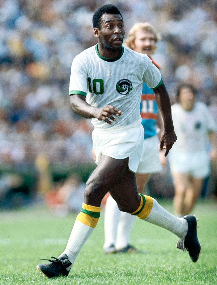 Pelé runs along the pitch during a game against the Dallas Tornadoes. He made 64 appearances as a member of the New York Cosmos.
