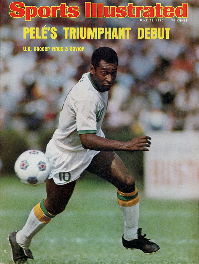 Pelé graces the cover of Sports Illustrated after joining the New York Cosmos in 1975. His debut in the U.S. helped popularize a sport in a nation that was behind the rest of the world.