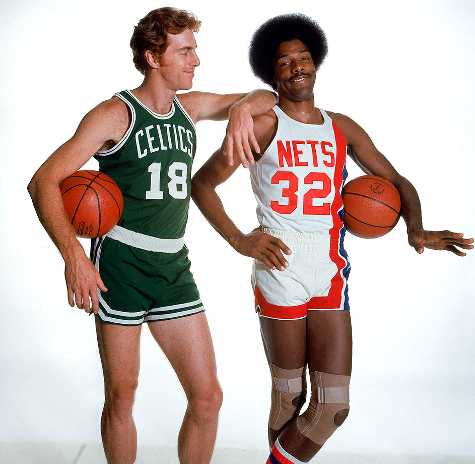 Dr. J poses with Boston Celtic Dave Cowens during an SI cover shoot.