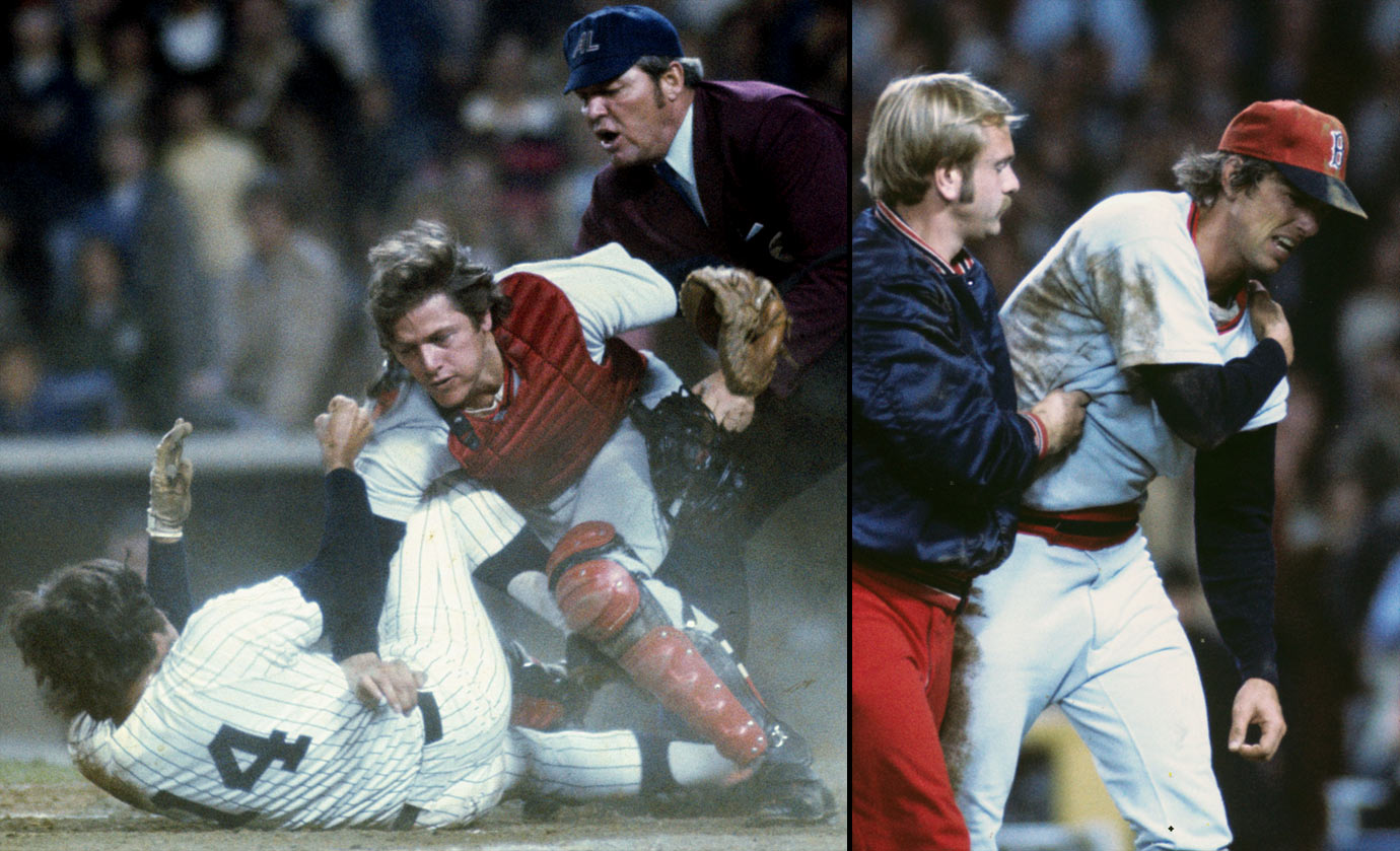 When Lou Piniella collided with Carlton Fisk at home plate in an unsuccessful attempt to score, it set off a fracas that had its roots in a 1973 encounter between Fisk and Thurman Munson. Fisk tackled Piniella, while the Red Sox Bill Lee (right), who was backing up home plate, was punched by the Yankees' Mickey Rivers and then thrown to the ground by Graig Nettles, who apparently intended to keep him from joining the fray. Once Lee regained his feet, he went to throw a punch at Nettles, and when he realized he couldn't lift his left (throwing) arm, he continued jawing and was subsequently decked with a right hook that gave him a black eye.