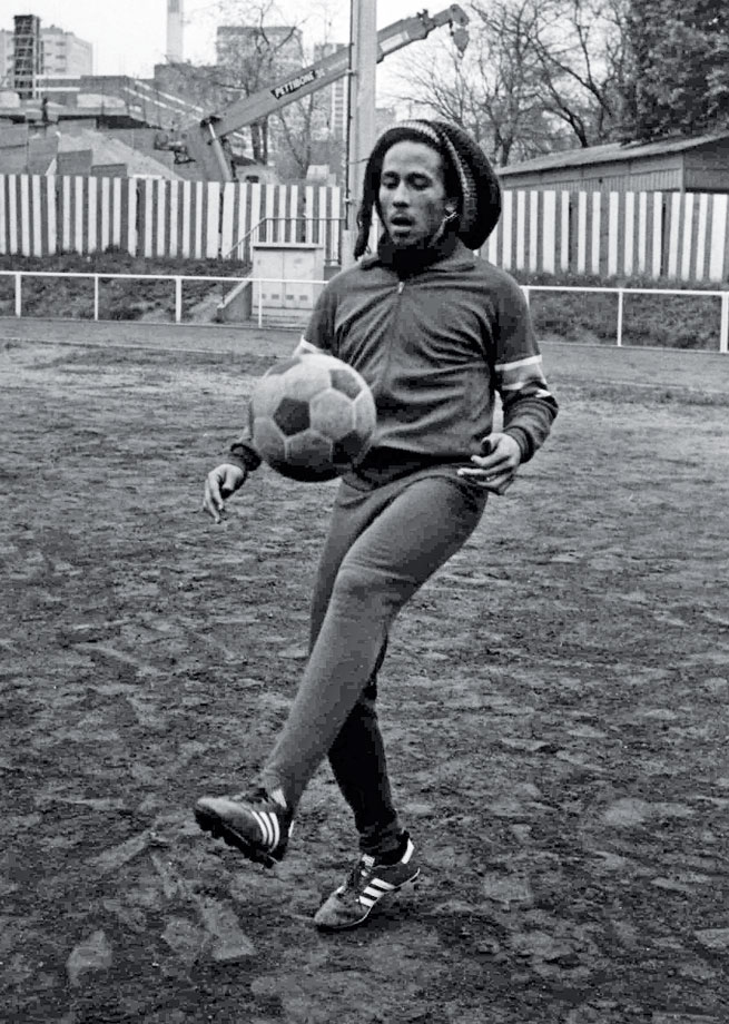 Bob Marley practices his soccer skills in Paris on May 10, 1977.  Marley and friends were due to play in a friendly match against French personalities, but due to bad weather the match was cancelled.