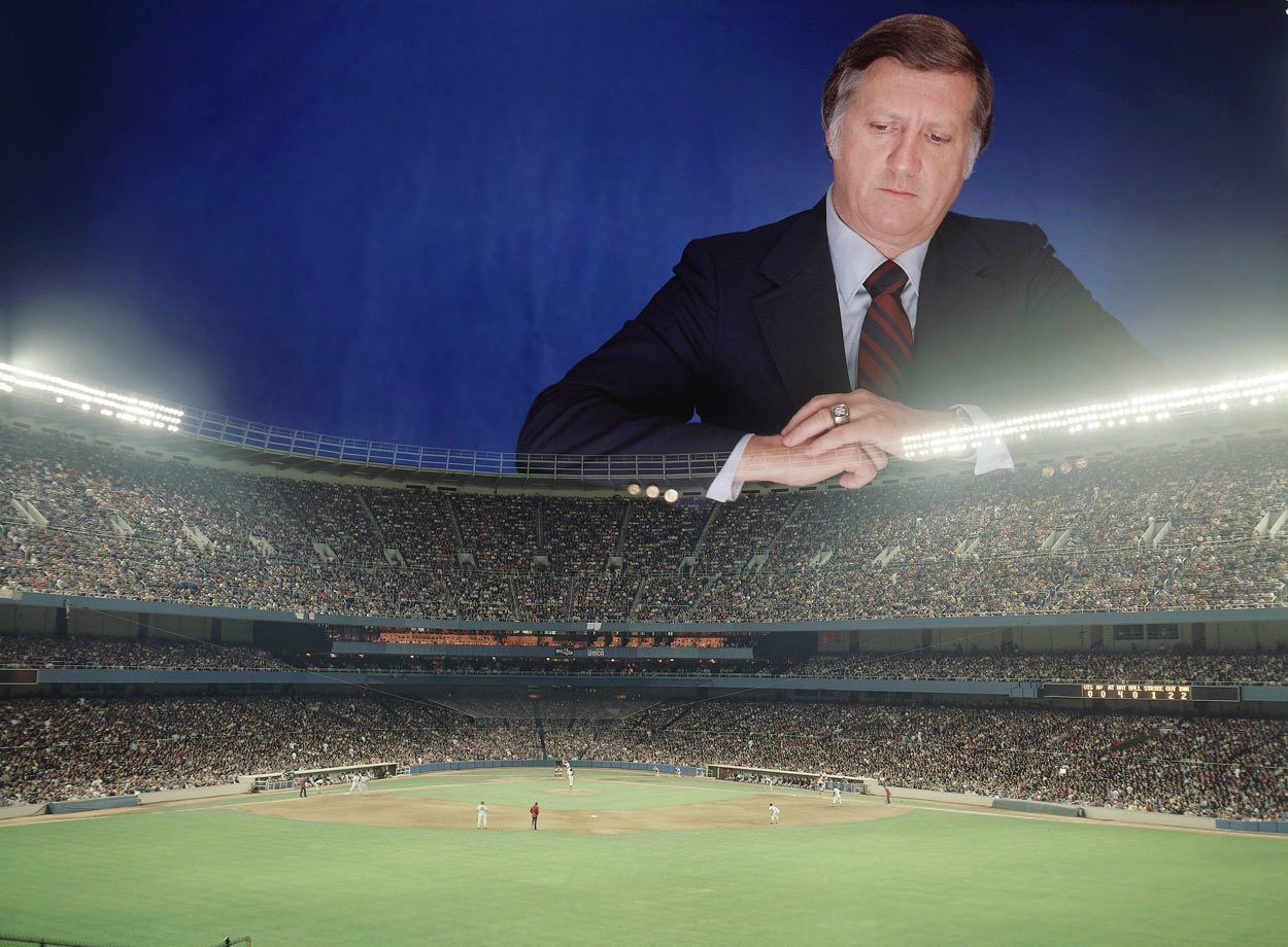 A dye transfer portrait of George Steinbrenner on Sept. 22, 1977 over Yankee Stadium in Bronx, N.Y.