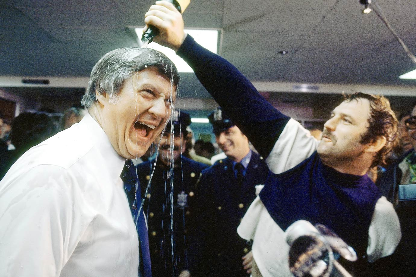 Thurman Munson pours champagne over George Steinbrenner's head after the Yankees won Game 6 and the World Series against the Los Angeles Dodgers on Oct. 18, 1977 at Yankee Stadium in Bronx, N.Y.