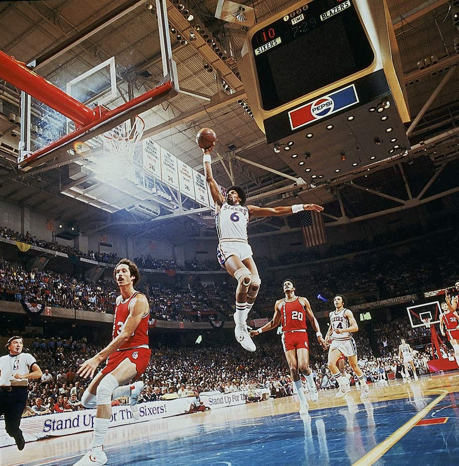 Dr. J soars for a dunk during Game 2 of the 1977 NBA Finals against Portland. Erving and the Sixers lost the Series to Bill Walton and the Blazers 4-2.