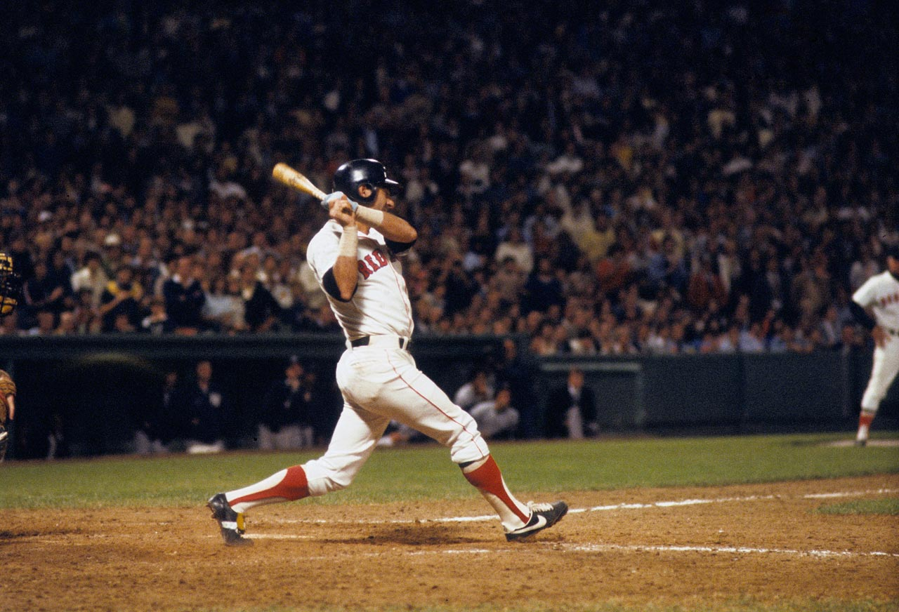 Carl Yastrzemski gets his 3,000th career hit during a game against the New York Yankees on Sept. 12, 1979 at Fenway Park in Boston.