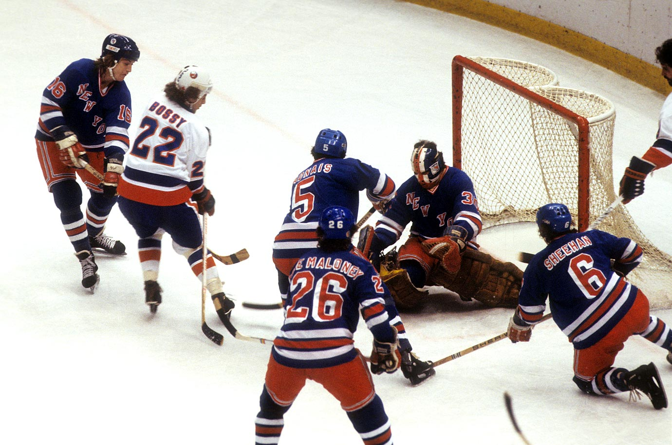 This went only six, but the rivalry's intensity earns it a spot among the all-time greats. The Isles, led by Bryan Trottier and Mike Bossy, were the top regular season team and expected to easily handle their arch-rivals but they twice needed OT to get to Game 5, which the Rangers won, 4-3. In the decisive Game 6, Ron Greschner and Don Murdoch scored 3:42 apart in the second period and goalie John Davidson continued to shine while leading the Rangers to a clinching 2-1 win that handed the Isles a bitter defeat that inspired the birth of their dynasty the next season.