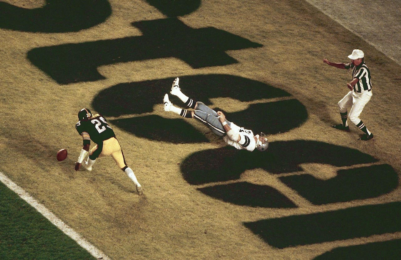 Tight end Jackie Smith flops in the end zone after dropping a potential game-tying touchdown. Dallas had to settle for a field goal en route to losing Super Bowl XIII 35-31.