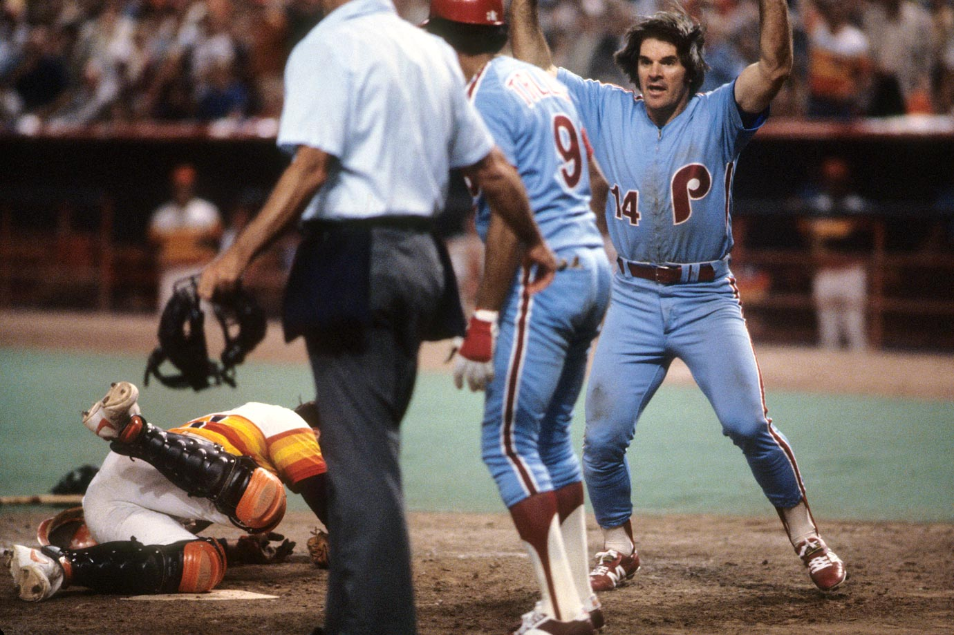 NLCS: Pete Rose celebrates scoring a run