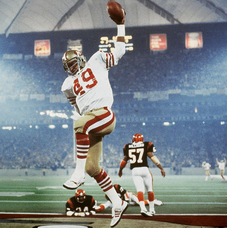 49ers fullback Earl Cooper celebrates after scoring a 10-yard receiving touchdown in the second quarter of Super Bowl XVI.