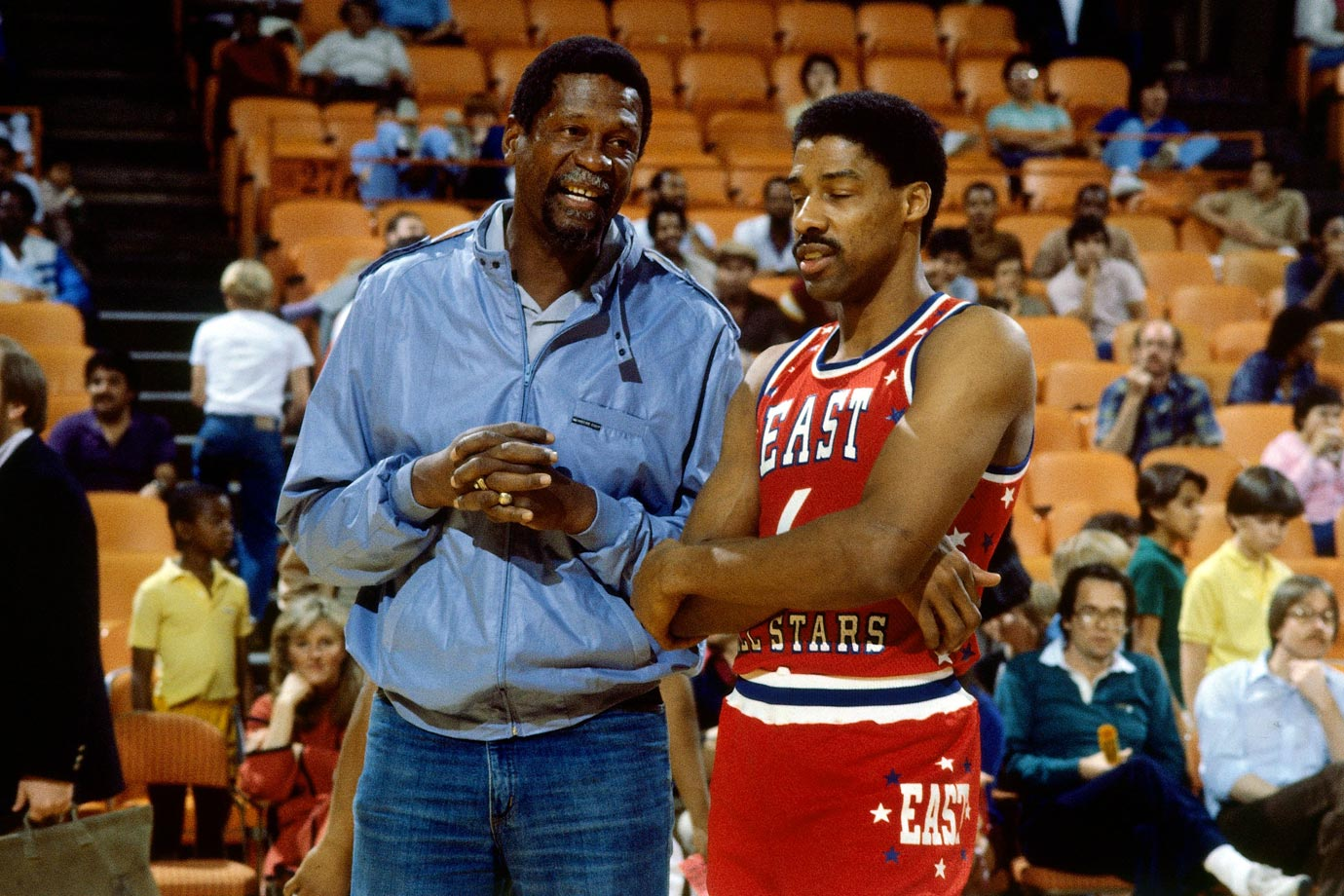 Bill Russell chats with Julius Erving before the All-Star game at the Forum in Inglewood, Calif. Dr. J won the game's MVP award after leading the East to a 132-123 win.