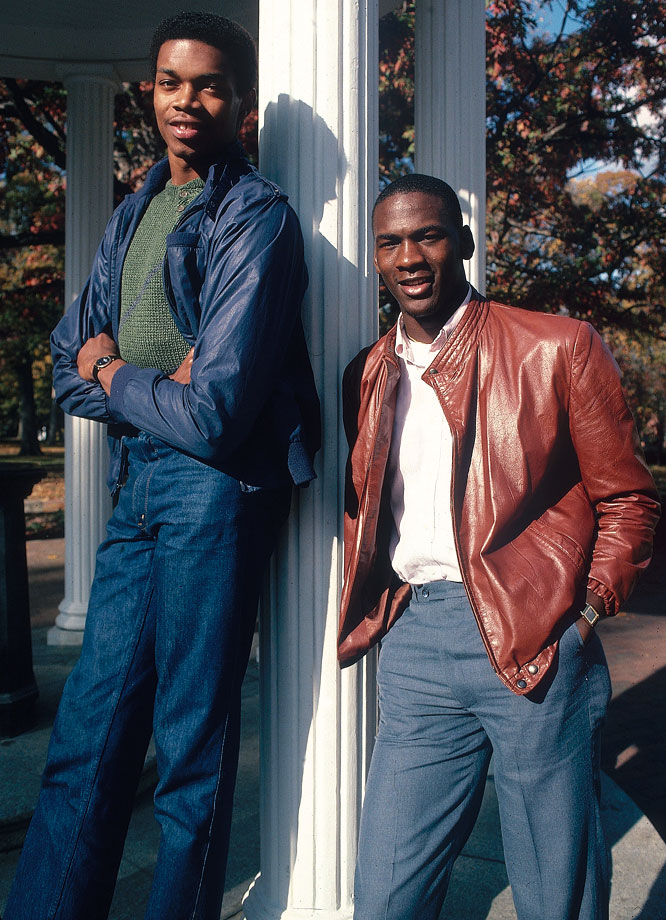 Michael Jordan stands with North Carolina teammate Sam Perkins in November 1983. The Tar Heels' star duo combined for 37.2 points per game in the 1983-84 season.