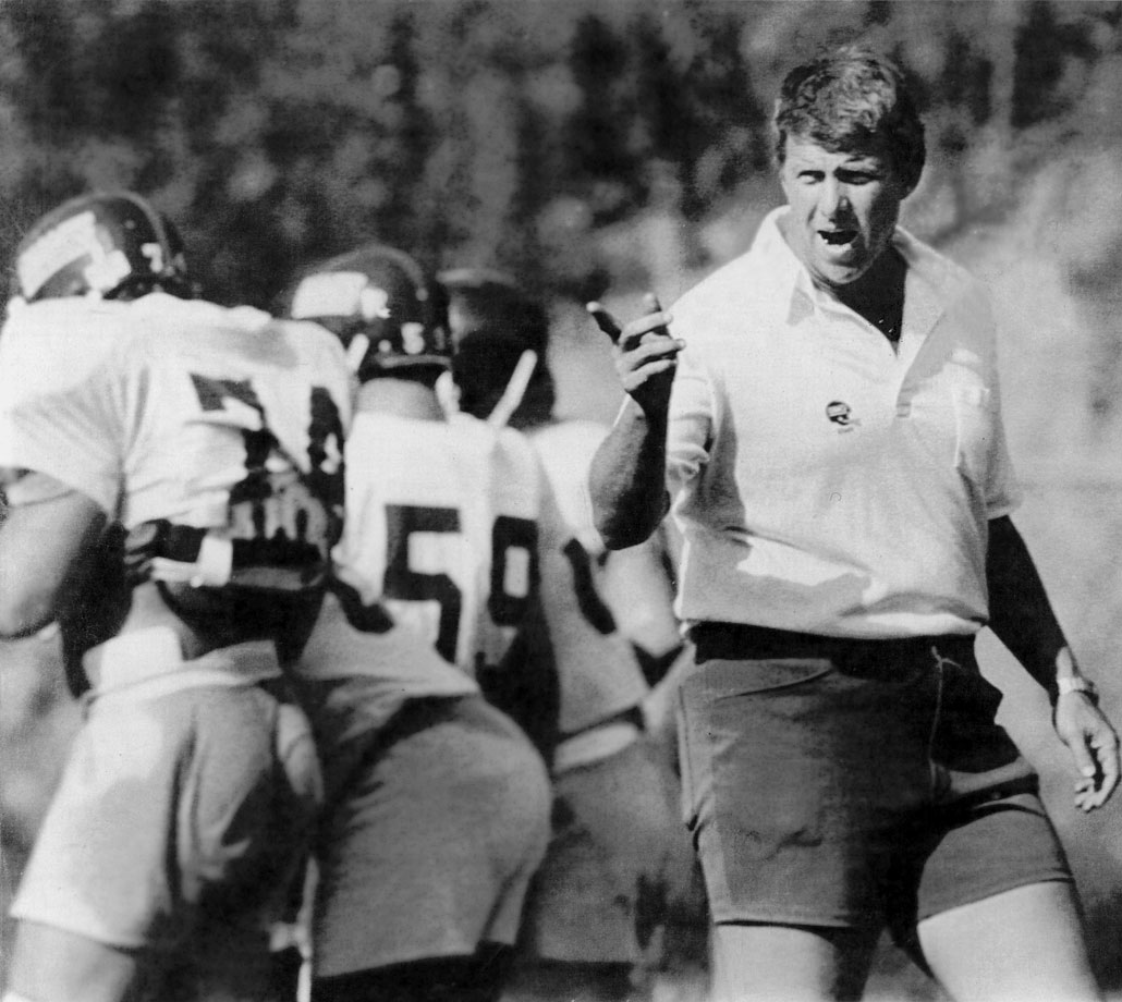 The Giants' new head coach Bill Parcells shouts instructions to his players at training camp in Pleasantville, N.Y.