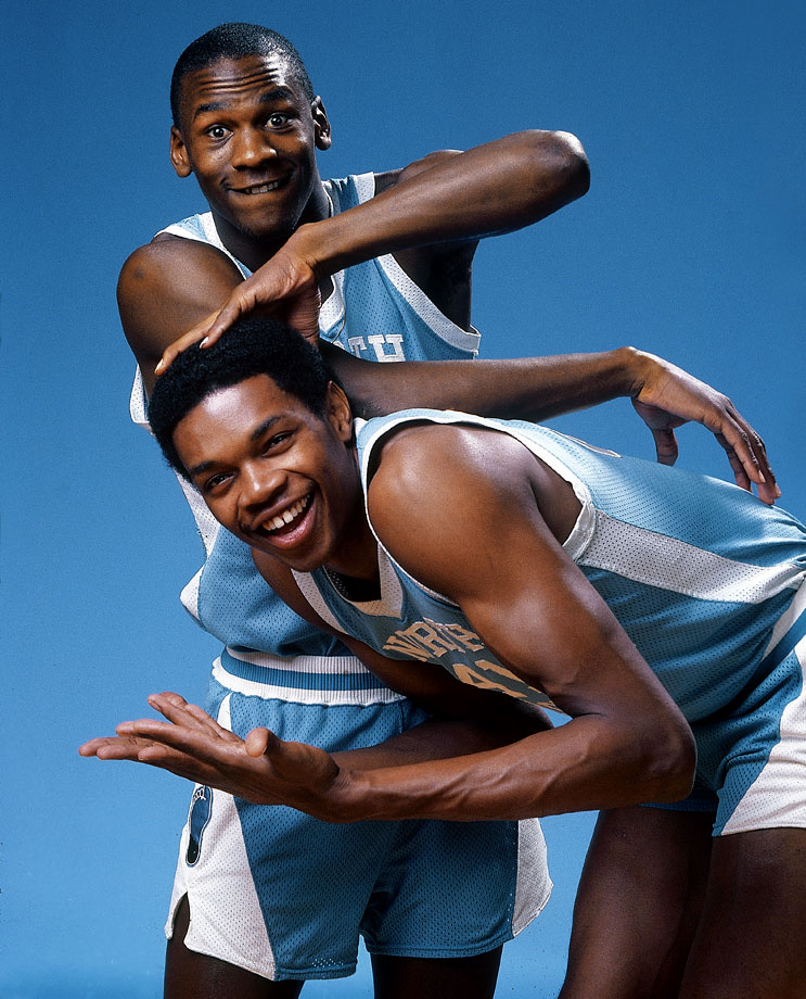 Michael Jordan rubs the head of Sam Perkins for a portrait in November 1983. The Tar Heels went undefeated in the ACC during the regular season but lost in the ACC Tournament and was upset in the Sweet 16 by Indiana.