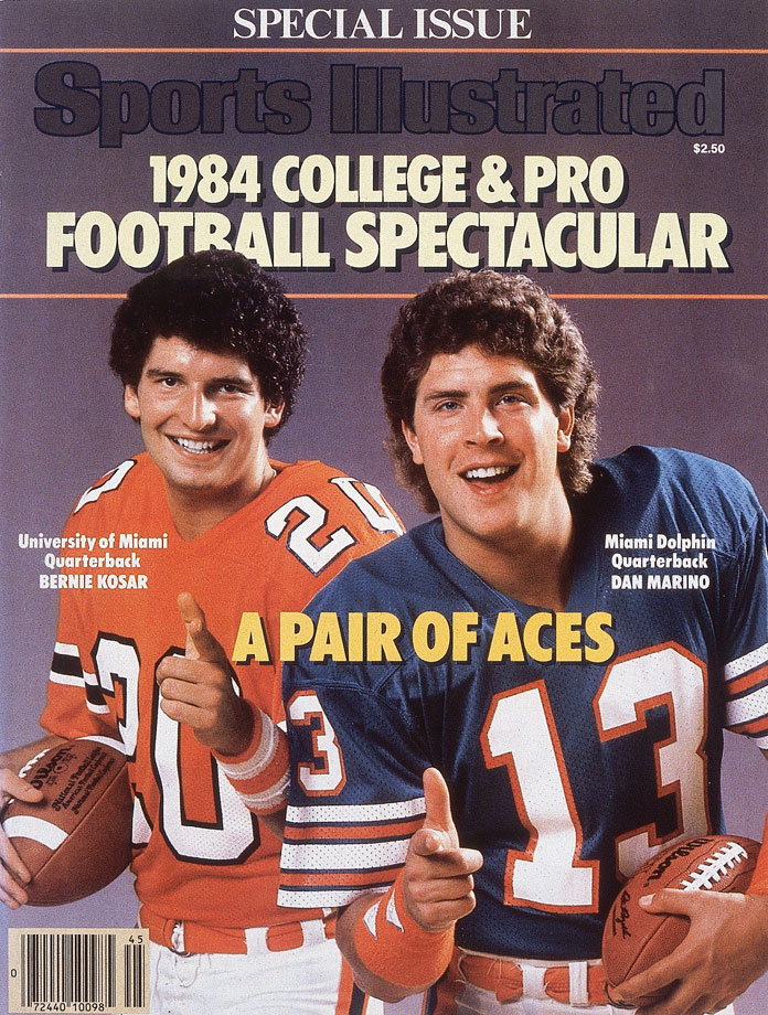 Dan Marino and Bernie Kosar appear on the Sept. 5, 1984 cover of Sports Illustrated.