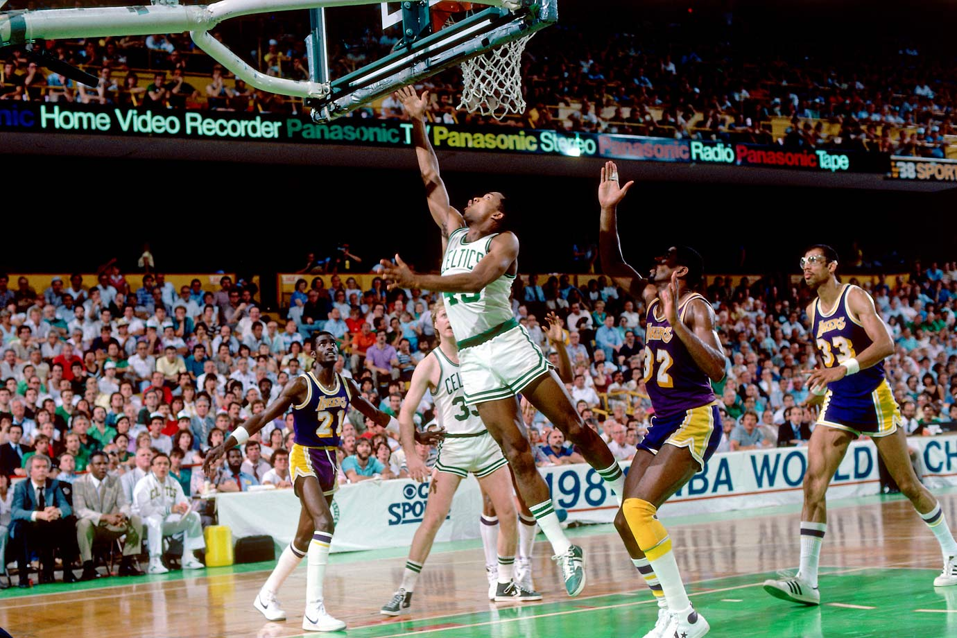 The Lakers had the Celtics on the ropes, leading the series 1-0 and nursing a 115-113 advantage with 15 seconds left in Game 2. But Gerald Henderson picked off James Worthy's lazy backcourt pass and turned it into a game-tying layup. Boston prevailed in overtime to climb back into the series.