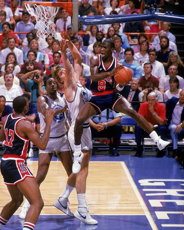 To tune up for his first Olympics, Michael Jordan competes for Team USA against a team of NBA All-Stars in 1984. Although the games against the NBA players were incredibly physical and left the Olympians bruised and battered, the move paid off when the Americans went 8-0 at the Los Angeles Summer Olympics en route to a gold medal.