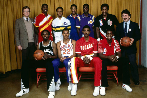 Edgar Jones, Larry Nance, Ralph Sampson, Orlando Woolridge, Back Row (L-R) Dominique Wilkins, Darrell Griffith, Julius Erving, Michael Cooper and Clyde Drexler :: Getty Images