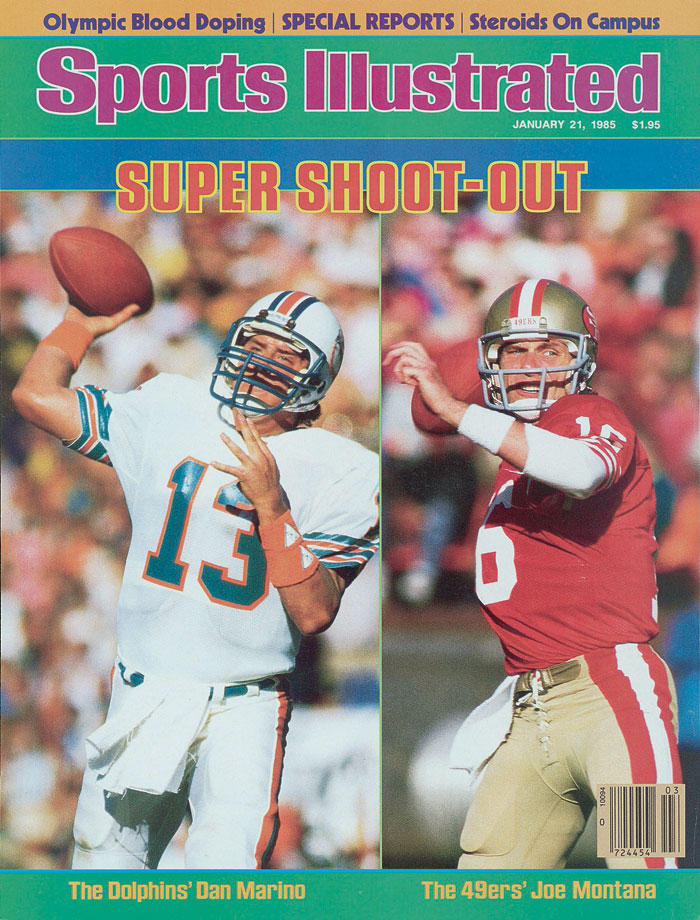 Dan Marino and Joe Montana appear on the Jan. 21, 1985 cover of Sports Illustrated.