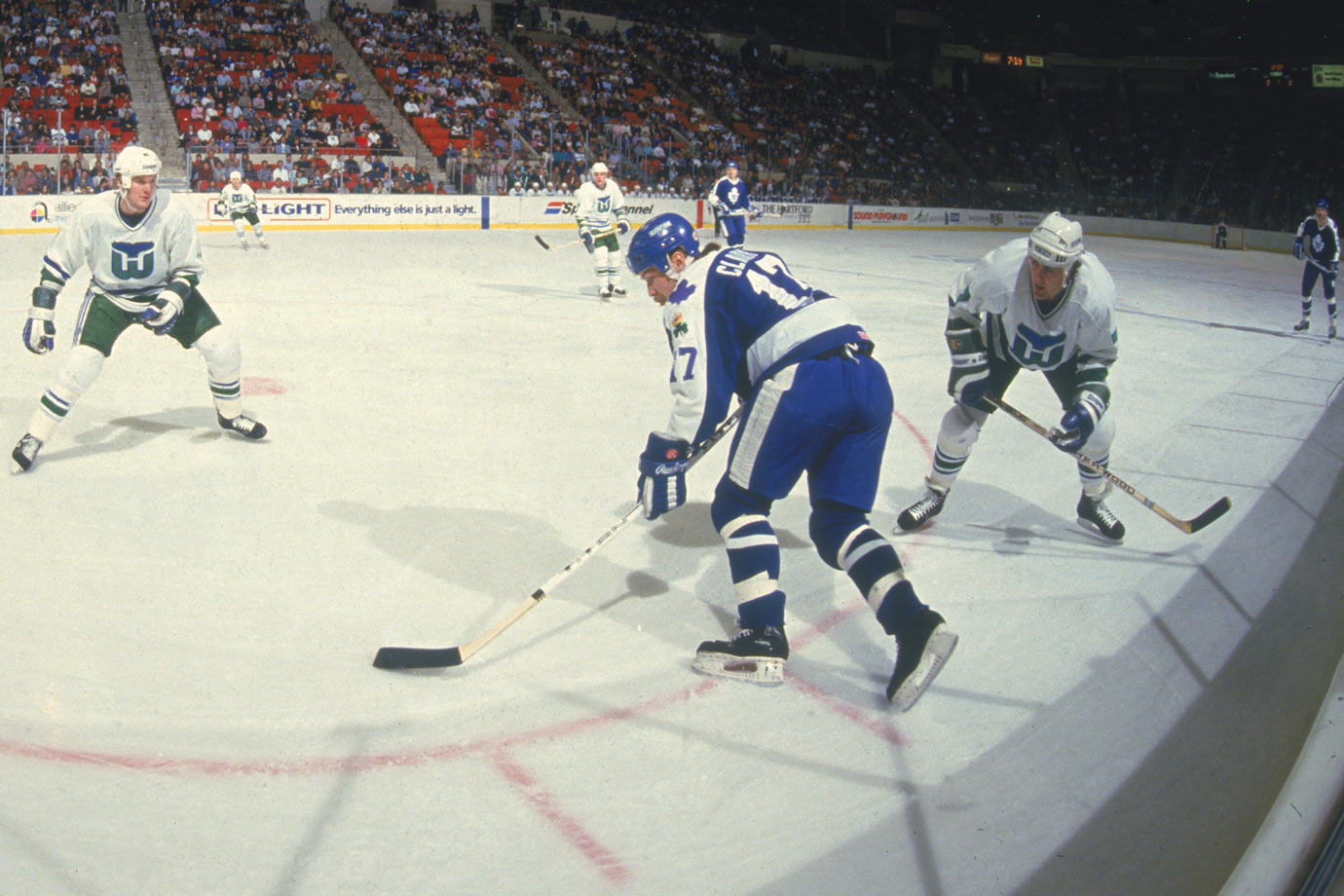 <p>One of the most revered Leafs, the aggressive, roughneck Clark scored 34 goals (with 227 PIM) as a rookie and was edged for the Calder by Flames defenseman Gary Suter. Clark later attained the Leafs' captaincy, but was plagued by injuries and traded to Quebec for Mats Sundin in 1994. Clark retired in 2000, having scored 330 goals for six teams. — Notable picks: No. 2: Craig Simpson, LW, Pittsburgh Penguins | No. 27: Joe Nieuwendyk, C, Calgary Flames | No. 28: Mike Richter, G, New York Rangers | No. 52: Bill Ranford, G, Boston Bruins | No. 214: Igor Larionov, C, Vancouver Canucks</p>