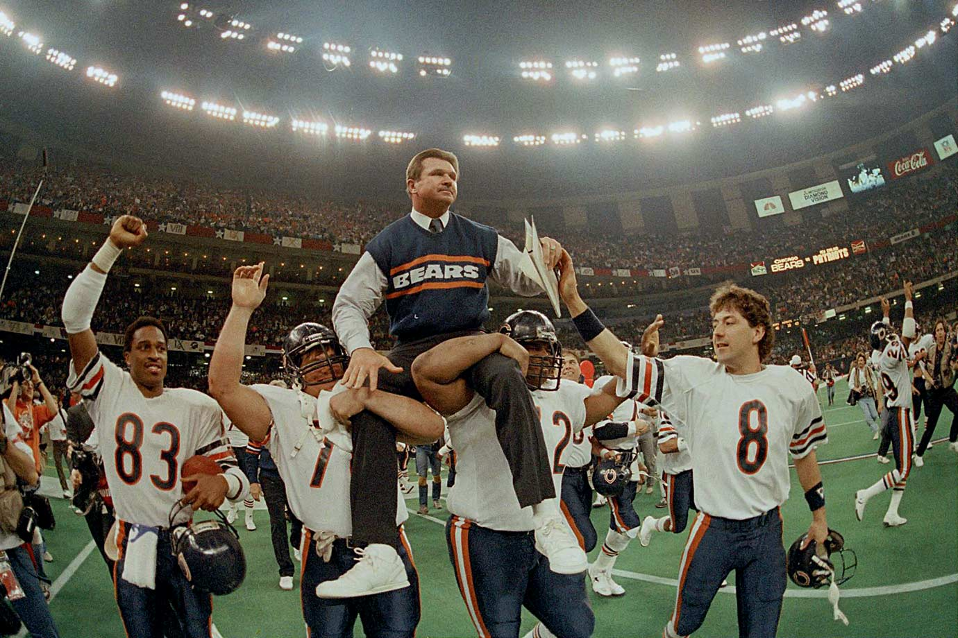 Jan. 26, 1986 — Super Bowl XX, Chicago Bears vs. New England Patriots