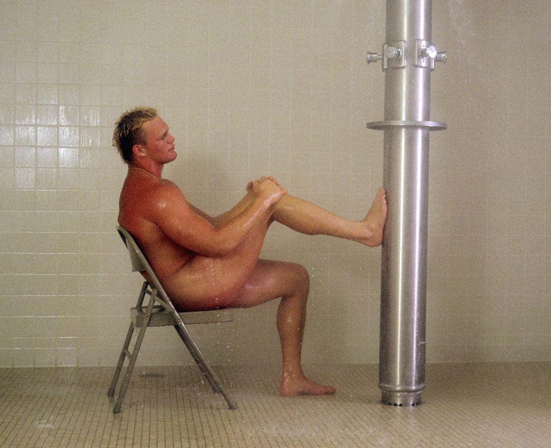 Bosworth enjoys a mock post-game shower during this photo shoot.