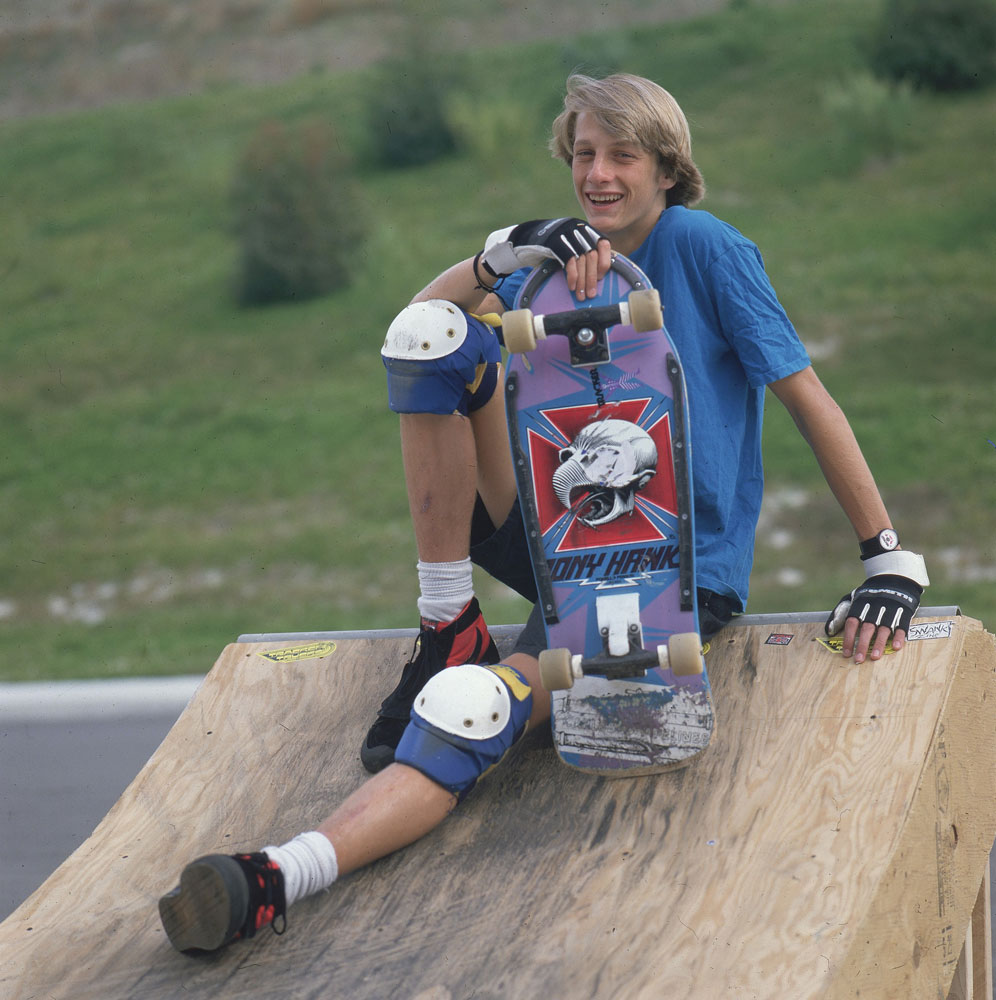 From the early years, Tony Hawk practicing in 1986 with his 'Tony Hawk' branded skateboard.