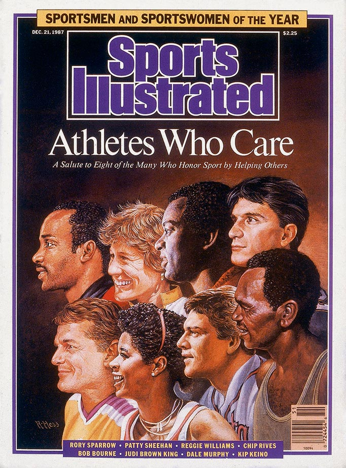 <p>Rory Sparrow, Patty Sheehan, Reggie Williams, Chip Rives, Bob Bourne, Judi Brown King, Dale Murphy and Kip Keino</p>