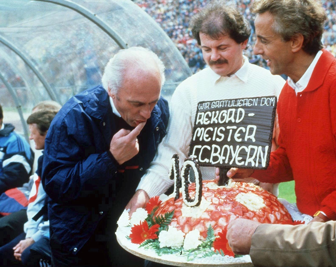 Udo Lattek is hired as head coach. In two different stints in charge of the club, Lattek (seen here in '87) would coach for more days (over 3,000) and win more trophies (10) than any other coach in the club's history.