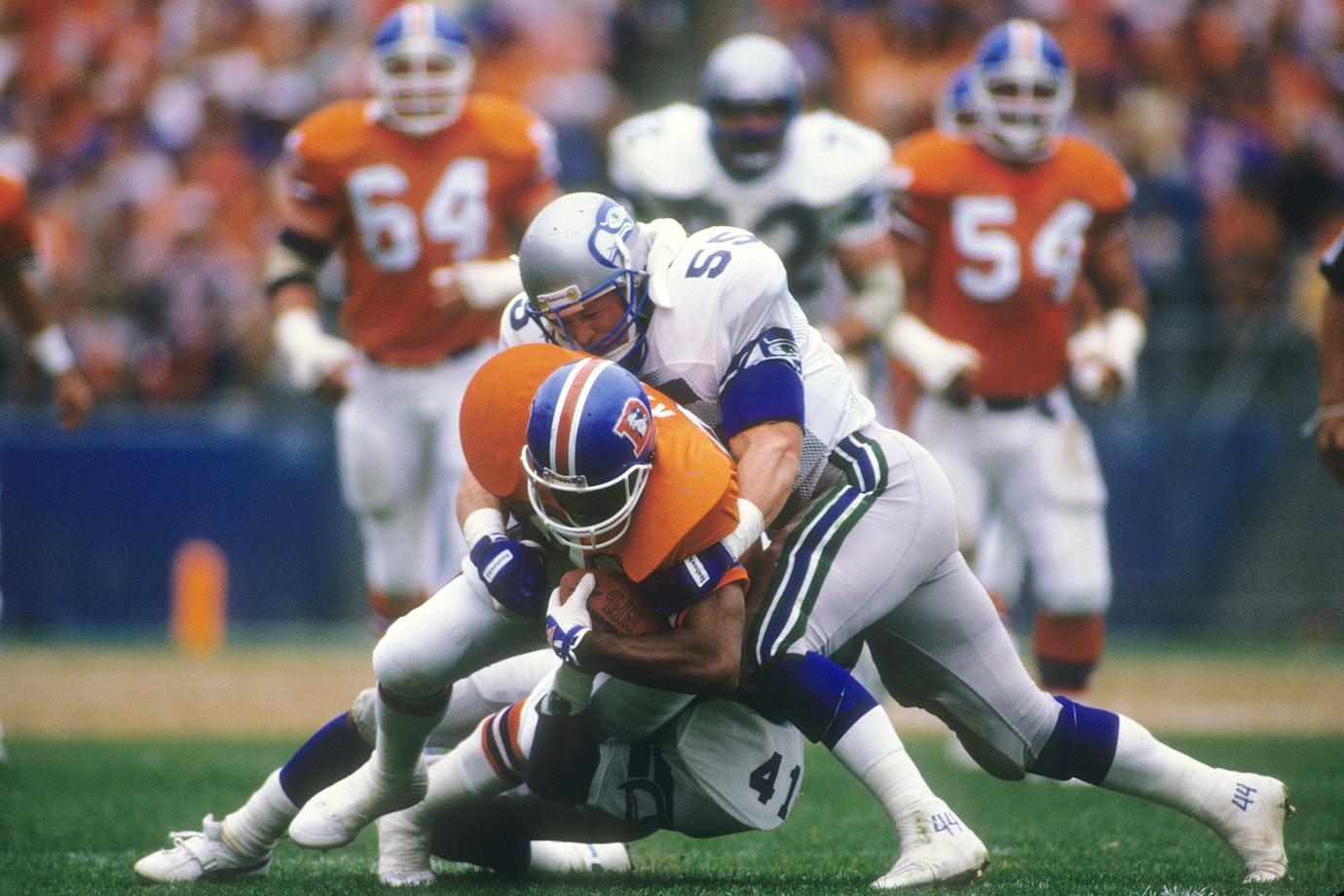 The Seattle Seahawks took Bosworth in the 1987 Supplemental Draft and signed him to the biggest rookie contract in NFL history (10 years, $11 million).