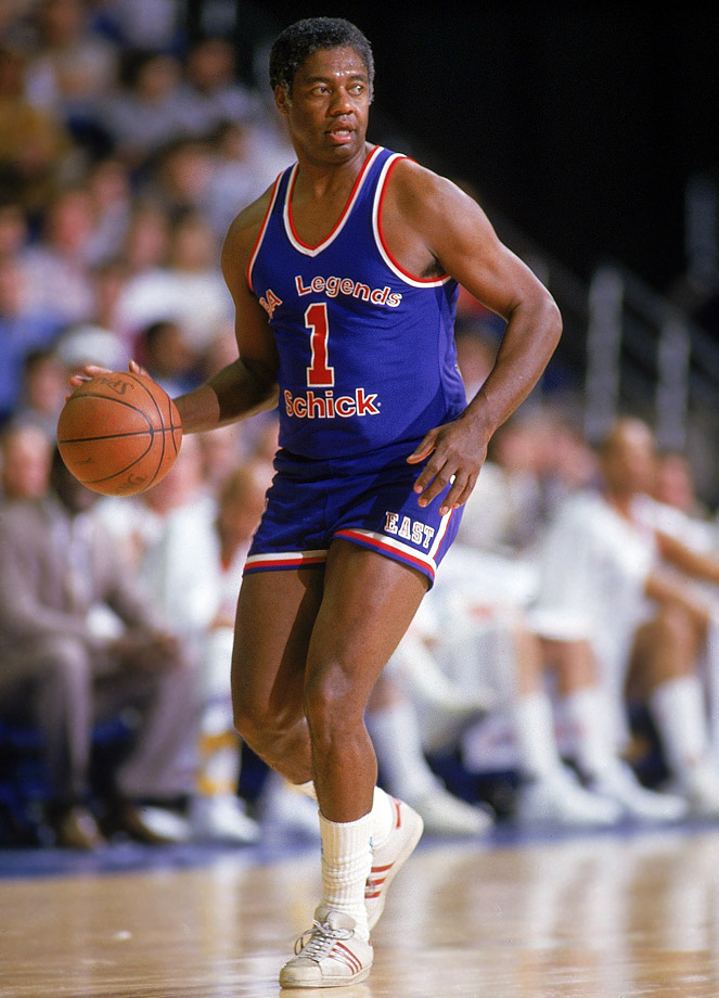 Oscar Robertson retired in 1974 with career marks of 26,710 points, 9,887 assists and 7,804 rebounds collected in 1,040 games. He still showed his touch during the 1987 Legends game in Seattle.
