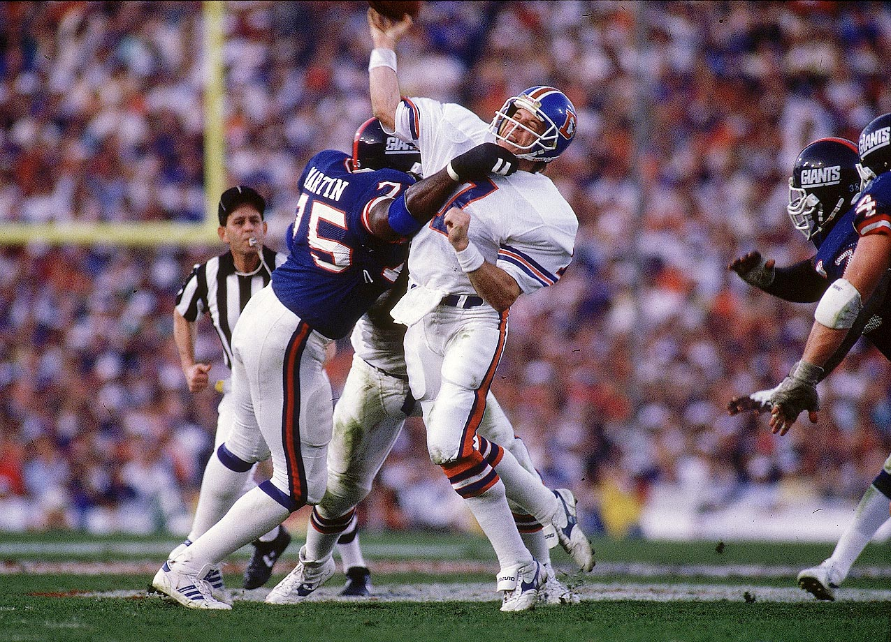 1987                                 George Martin gets to John Elway. His sack on Elway for a safety accounted for the only points scored in the second quarter of Super Bowl XXI.