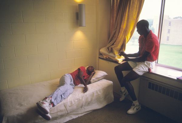 Michael Jordan (Michael Jordan Flight School at Illinois Benedictine College, 1987) :: Walter Iooss Jr./SI