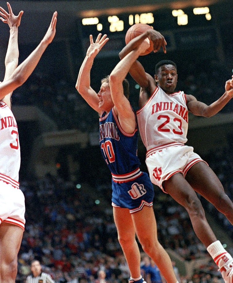 13-seed Richmond drew Keith Smart, the Most Outstanding Player in the 1987 Tournament, and his defending national champion Hoosiers in the first round. With Indiana down one-point late in the game, Smart missed a shot which led to a Ken Atkinson fast break to give the Spiders a 72-69 victory. Richmond went on to beat Georgia Tech to advance to their first ever Sweet Sixteen.
