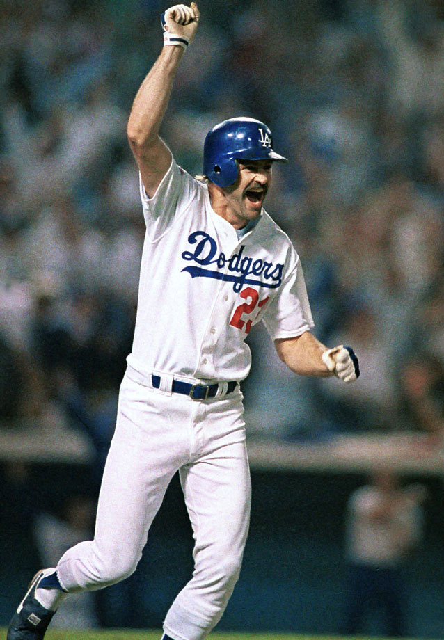 A hobbling Kirk Gibson shocked the A's — and the baseball world — with his pinch-hit, game-winning home run in the bottom of the ninth off Dennis Eckersley in Game 1 of the '88 World Series. Gibson didn't play for the rest of the Series but the inspired Dodgers crushed the heavily-favored A's in five games.