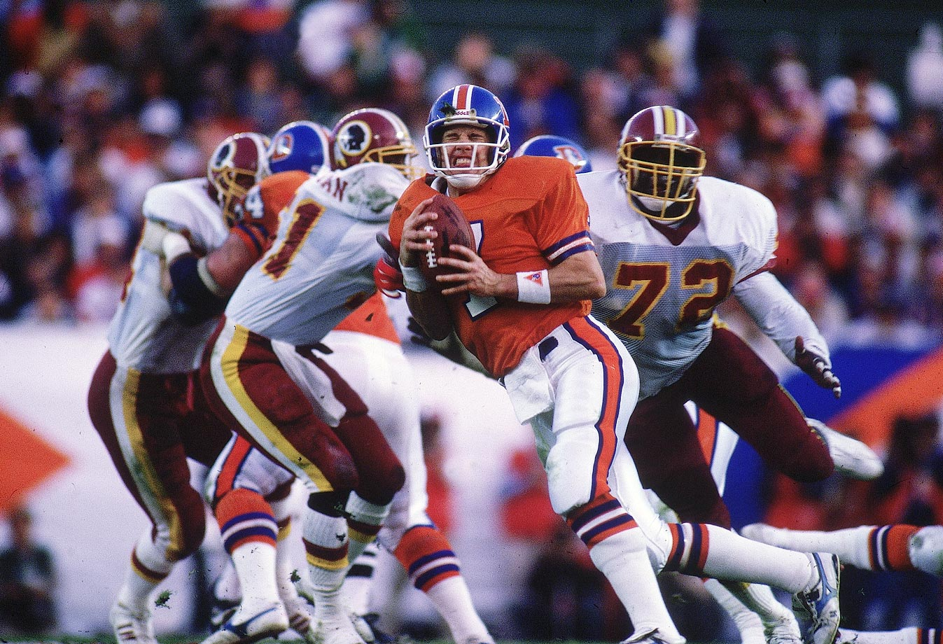 Dexter Manley (72) and the Redskins combined to sack John Elway five times and intercept him three times.