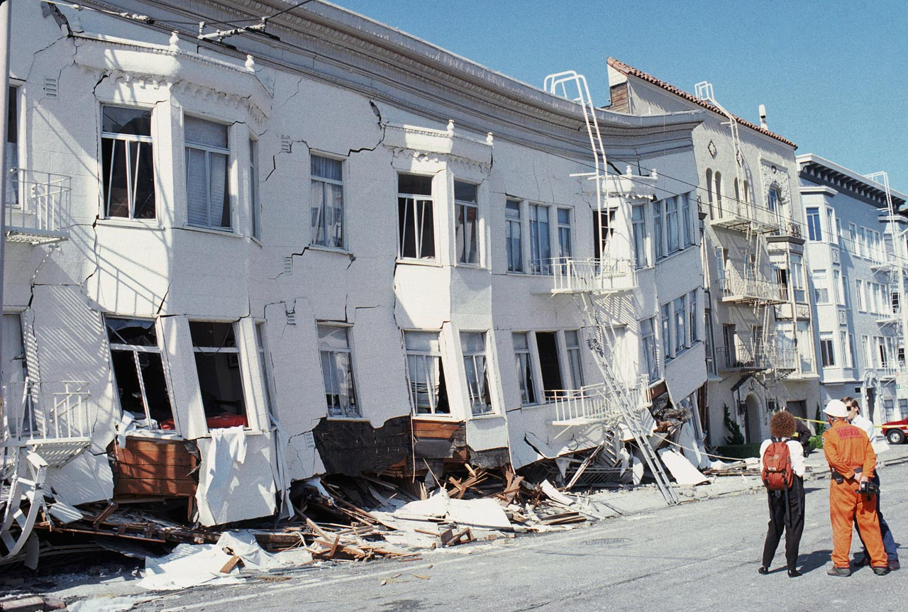 Crumbling buildings are seen in the Marina district disaster zone after the earthquake.  It was the largest earthquake to occur on the San Andreas fault since the great San Francisco earthquake in April 1906.