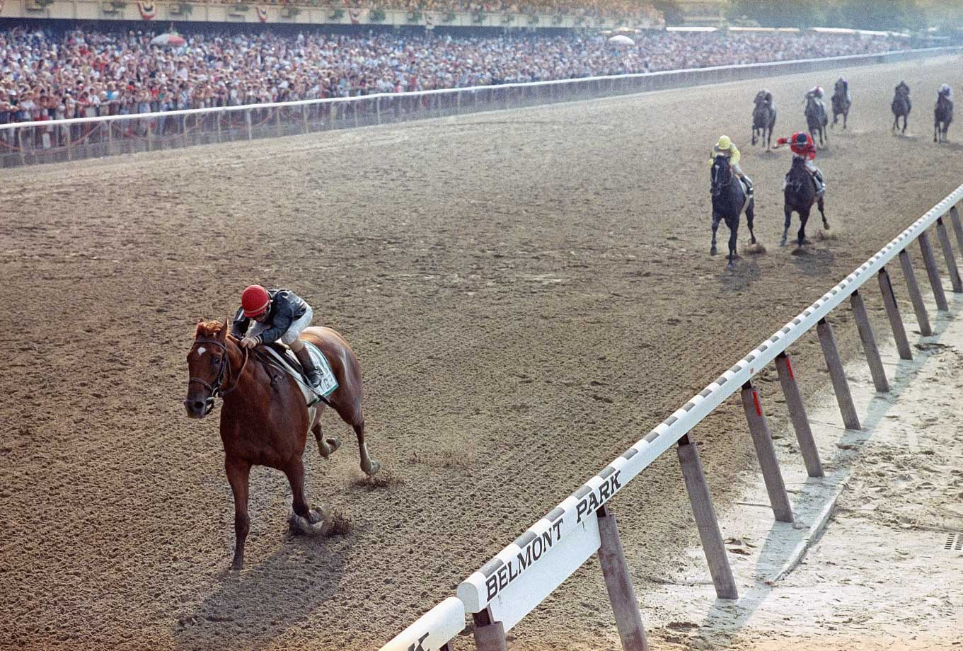 Sunday Silence faced off with rival Easy Goer in each leg of the 1989 Triple Crown. Running as the second-favorite, Sunday Silence first upset Easy Goer by 2 1/2 lengths at the Derby. The two colts then hooked up in a famous duel down the stretch at the Preakness, where Sunday Silence won by a nose. But Easy Goer (left) would have the last laugh, winning the Belmont by eight lengths ahead of Sunday Silence (yellow).