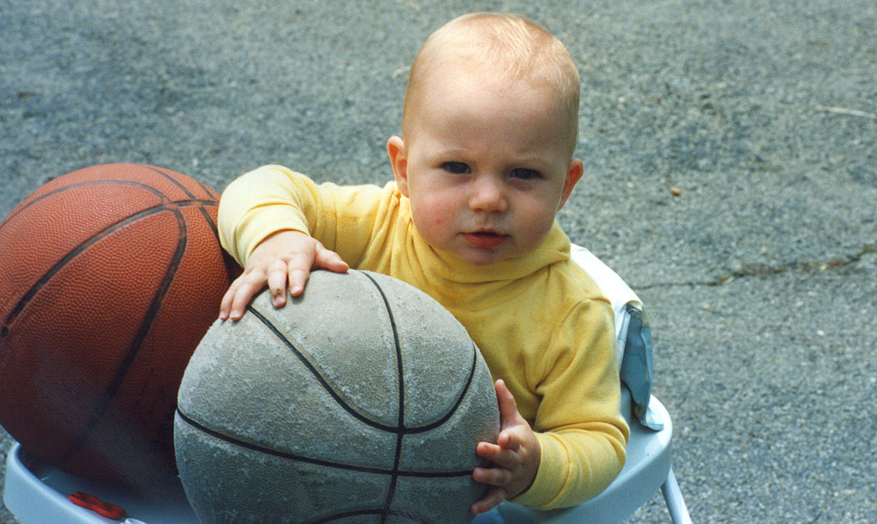 A six-month-old Kevin Love is introduced to basketball at a very, very early age.