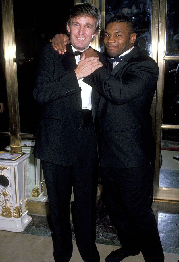 Donald Trump and Mike Tyson pose during the Annual March of Dimes Gourmet Gala at the Plaza Hotel in New York City.