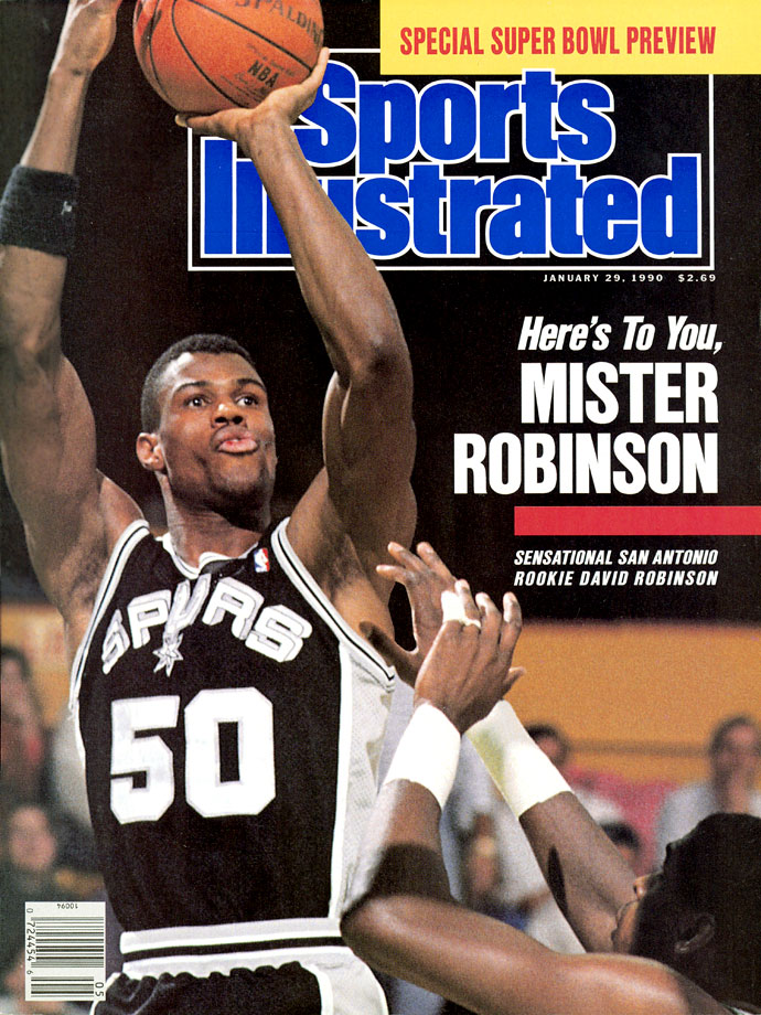The 7-foot-1 center spent his entire 14-year career with the Spurs. Along with winning two championships and finishing with career averages of 21.1 points, 10.6 rebounds and 2.99 blocks, Robinson was named 1990 Rookie of the Year, 1992 Defensive Player of the Year and 1995 MVP. He was honored as one of the NBA's 50 greatest players in 1996.