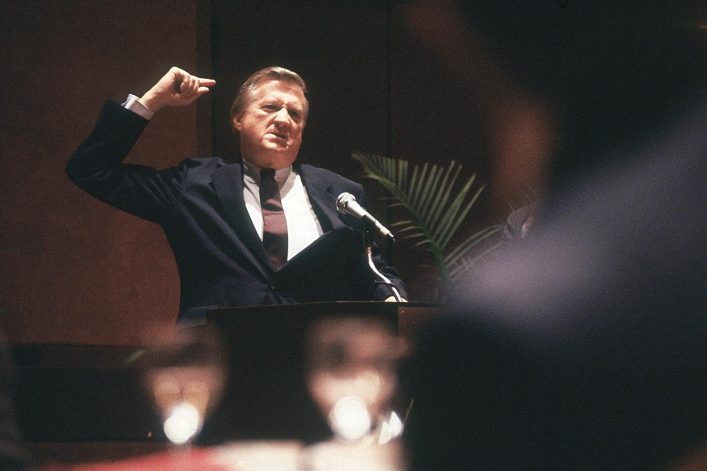 George Steinbrenner speaks at an ABA Breakfast on April 27, 1990 in New York City.