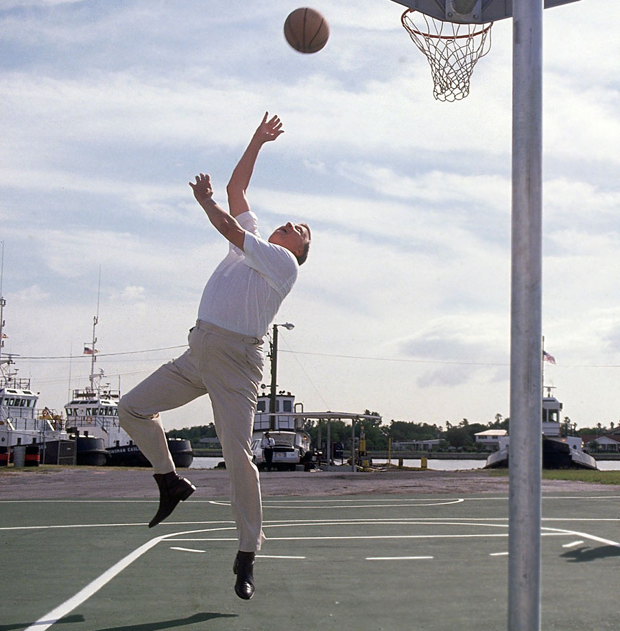 George Steinbrenner plays basketball along a dock for the American Ship Building Company on May 3, 1990 in Tampa, Fla.