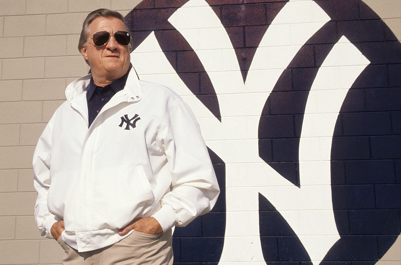 George Steinbrenner poses outside of the New York Yankees Minor League Complex on May 3, 1990 in Tampa, Fla.