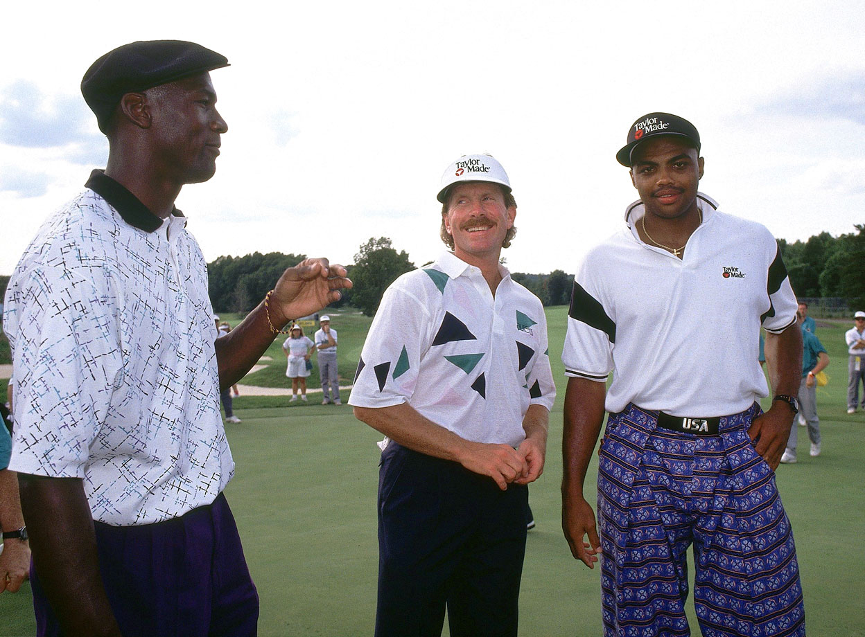 Michael Jordan joins Mike Schmidt and Charles Barkley for a skins game of golf in Philadelphia.