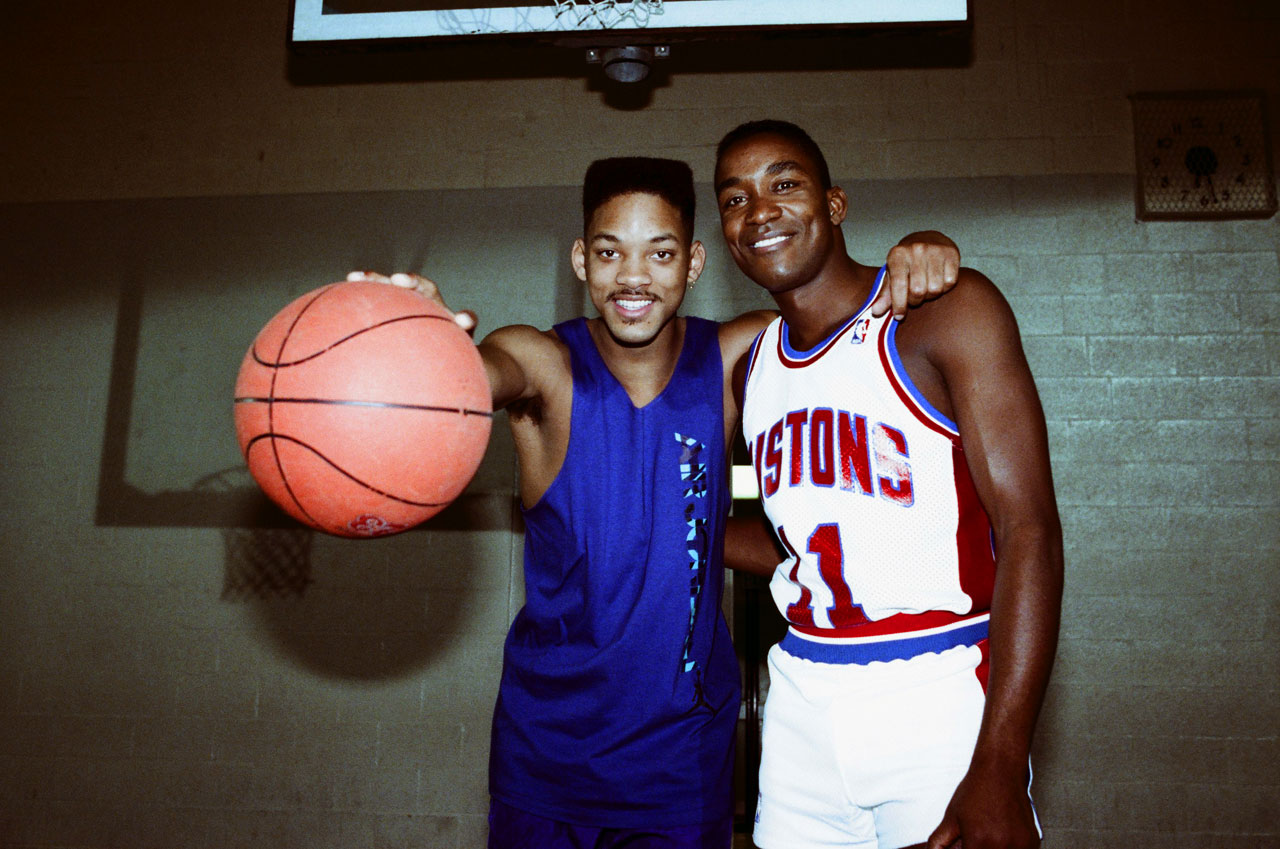 Will Smith poses with Isiah Thomas while filming the Fresh Prince of Bel-Air episode ''Courting Disaster.''