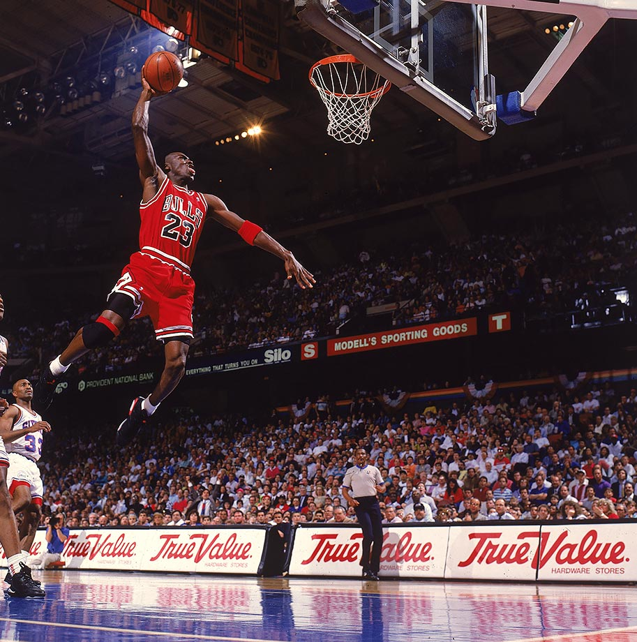 Michael Jordan soars for a dunk in Game 3 of the 1991 Eastern Conference Semifinals. Jordan scored 46 of Chicago's 97 points in the Bulls only loss of the series against the 76ers en route to another championship.